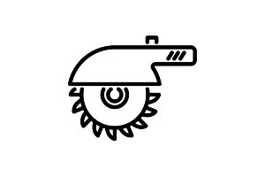Web line icon. Circular saw black