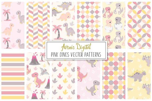 Pink Dinosaur Digital Paper Vector