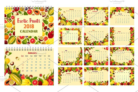 Calendar Template With Exotic Tropical Fruit Frame