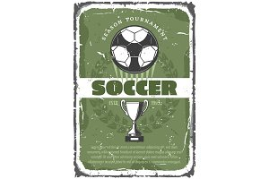 Soccer or football sport game retro grunge poster
