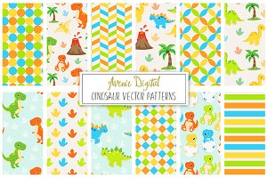 Cute Dinosaur Digital Paper - Vector