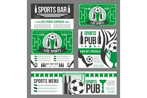 Football sport pub banner of soccer ball and beer