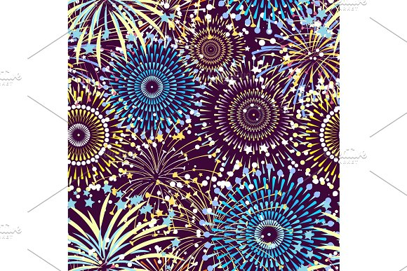 Vector Pattern Or Background With Fireworks Exploding Illustration