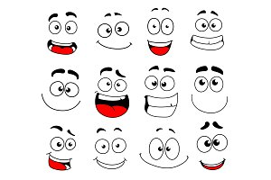 Face emotion icon of emoticon, smiley and emoji