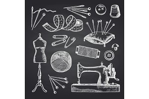 Vector set of hand drawn sewing elements on black chalkboard illustration