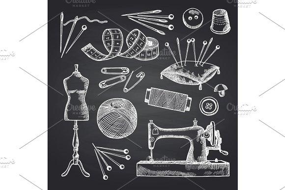 Vector Set Of Hand Drawn Sewing Elements On Black Chalkboard Illustration