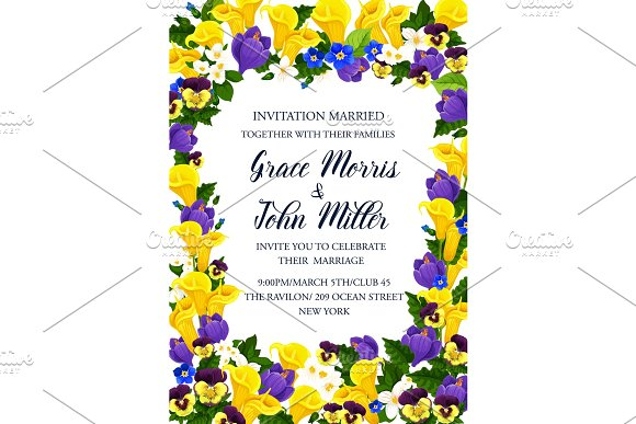 Flower Frame For Wedding Invitation Banner Design