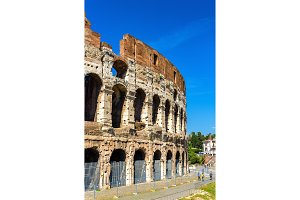 Ruins of Colosseum or Flavian Amphitheatre in Rome