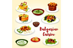 Bulgarian cuisine icon of dinner dish with dessert