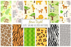 Safari Digital Paper Vector Patterns