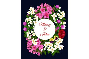 Wedding invitation card with flower frame design