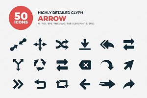 Glyph Icons Arrows Set