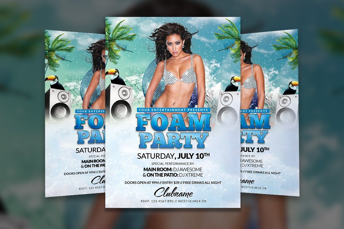 Foam Party Flyer Template Flyer Templates Creative Market – Azure Flyer Template