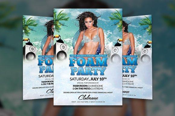 foam party flyer template flyer templates creative market