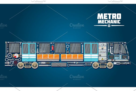 Subway Train Parts Icon For Metro Mechanic Concept