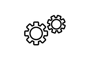 Web line icon. Gears black on white