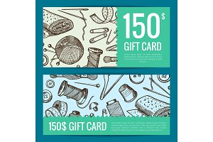 Vector hand drawn sewing discount card