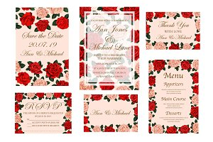 Wedding ceremony invitation card with rose flower