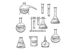 Chemical laboratory glass and equipment sketch