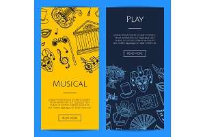 Vector doodle theatre elements banners illustration