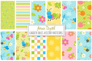 Garden Bugs Digital Papers - Vectors