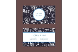 Vector doodle theatre elements business card template