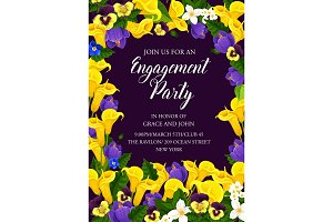 Engagement party invitation with flower frame