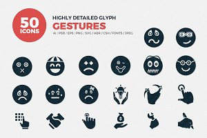 Emojis/Hand Gestures Glyph Icons
