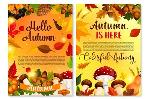 Autumn Hello fall seasonal vector greeting card