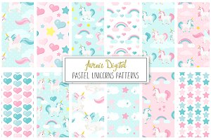 Pastel Unicorns Vector Patterns
