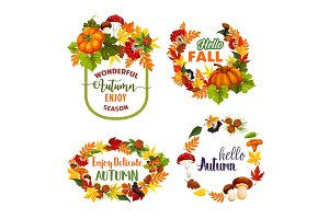Autumn Welcome Fall vector leaf wreath icons
