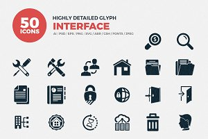 Interface Glyph Icons Set