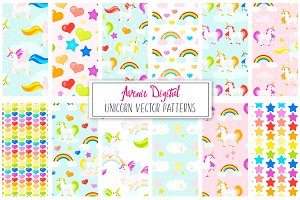 Rainbow Unicorn Seamless Patterns