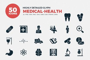 Medical & Health Glyph Icons Set