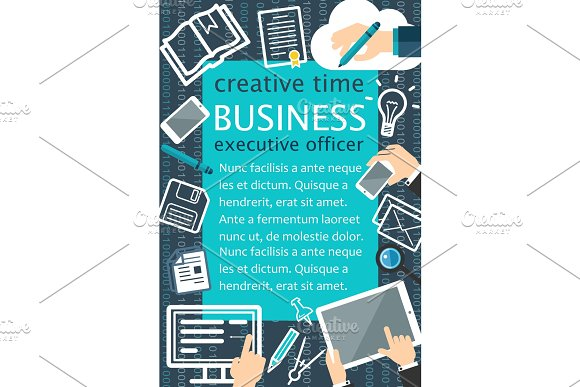 Creative Team Flat Banner For Business Concept