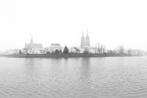Wroclaw Poland BW Panorama