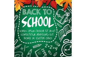Back to school sketch poster on green chalkboard