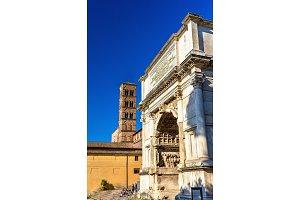 Arc de Titus and Basilica di Santa Francesca Romana in Rome