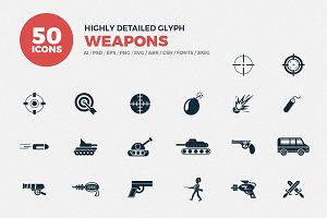 Weapons Glyph Icons Set