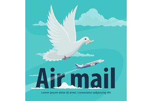 Air mail service banner with plane and pigeon