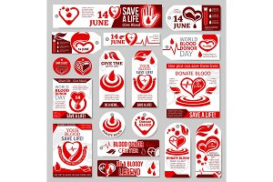 World Blood Donor Day tag, label and banner design