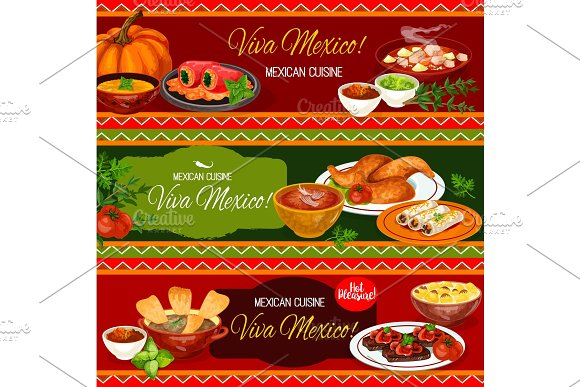 Mexican Cuisine Restaurant Banner With Dinner Dish