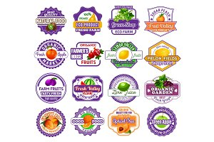 Fruit and berry label for food and drink design