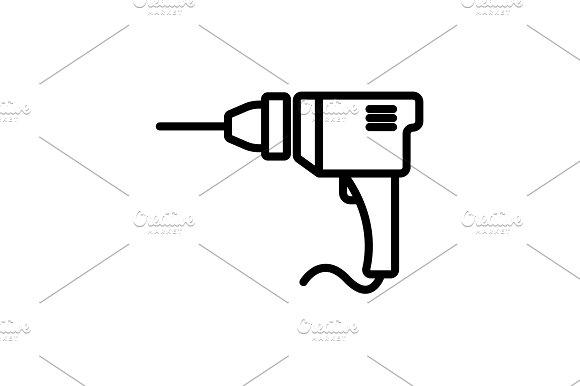 Web Line Icon Drill Black On White