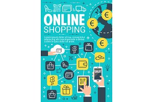 Online shopping and e-commerce banner design