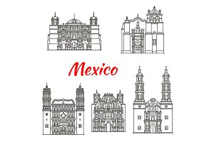 Mexican travel landmark icon with catholic church