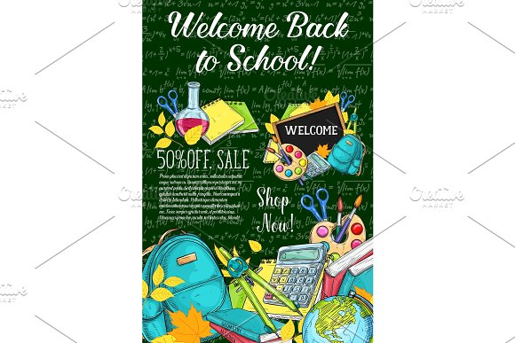 Back To School Vector Sale Offer Poster Sketch