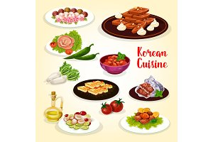 Korean food icon with dishes of Asian cuisine