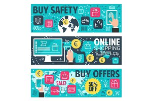 Secure online shopping banner, e-commerce design