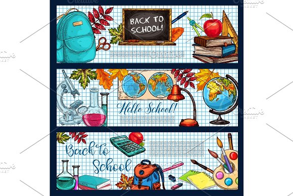 Back To School Vector Stationery Sketch Banners
